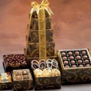 A stunning Hanukkah gift basket of gourmet chocolates is sure to win everyone's hearts, especially the kids.
