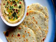 Caraway and Onion Flatbread with Hummus