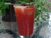 Bloody Mary with Homemade Jalapeno Vodka and Taco Meatballs
