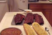 Smoked Baby Back Ribs with Bread and Beans