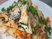 Lasagna with Ground Beef, Poblano Peppers & Ricotta Cheese