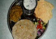 Baingan Bhartha - Roasted Eggplant Curry, Masala Chaas (Spicy Buttermilk) and Bajra(Millet) Roti