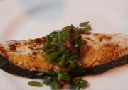 Seared Halibut with Hot Bacon And Bean Relish