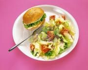 A small sized grilled chicken burger with a heap of salad is a healthy junk food