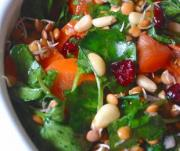 Raw Living Pea and Lentil Sprout Salad with Curried Tomato Dressing