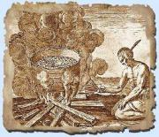 An illustration of a Native American cooking his dishes