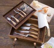 A set of different cheese knives