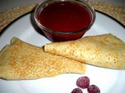 Blintzes With Raspberry Sauce