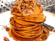 Pumpkin Pancakes with Pecan Spiced Maple Syrup