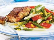 Grilled Barbecue Salmon with Asparagus, Jicama, Pepper, & Corn Salad