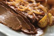 Kosher Brisket in wine sauce for Hanukkah