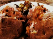 Roasted Chicken Stuffed Baked Potatoes with Mushroom Pan Gravy