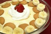 Yummy Banana Pudding topped with strawberry