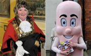 Mayor Jill Makinson-Sanders, dressed as a Mayor (on left) and dressed as a sausage (on right).