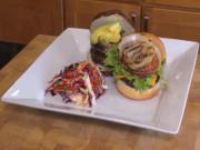Gourmet Turkey Burger and Hamburger with Vinegar Coleslaw