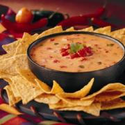 Cheese dip served with crackers