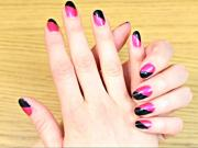 Black and Pink Retro Nail Art