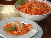 Penne with mozzarella eggplant tomato sauce