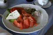 A tempting plate of wet smoked salmon