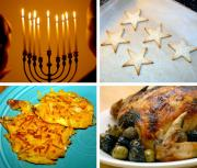 Various Hanukkah snacks and foods