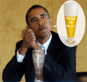 Obama seems to be dreaming about beer, all the time.