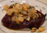 Smoked Steak with Sauteed Mushrooms and Shrimp