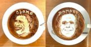 Obama, Romney re-created in Lattes cups.