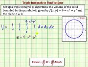 Set Up A Triple Integral To Determine Volume