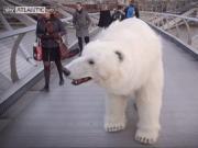 Giant Lifelike Polar Bear Puppet Spotted Roaming London