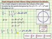 Use A Triple Integral To Determine Volume Ex 1