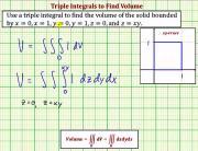 Use A Triple Integral To Determine Volume Ex 1