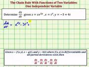 Chain Rule Function Of Two Variables With One Independent Variable