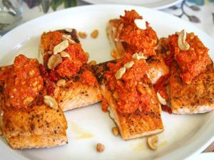 Salmon With Romesco Sauce