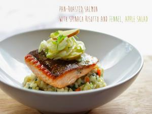 Salmon With Spinach Risotto And Fennel Apple Salad Stevescooking