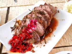Roast Venison with Cranberry Sauce