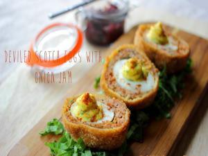 Deviled Scotch Eggs With Onion Jam