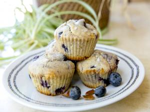 Blueberry Muffins On Table Plate Deco Copy