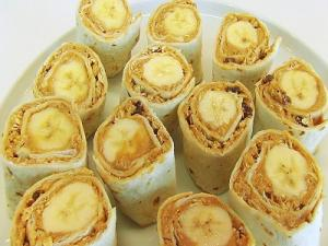 Peanut Butter And Banana Tortilla Rollups