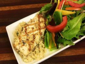 Grilled Halibut Basmati Brown Herb Rice Rp