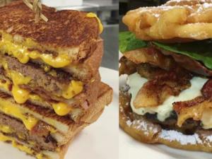 Grilled Cheese Burger Funnel Cake Burger At Baseball Stadium