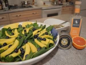 Blueberry Mango And Spinach Salad With Cajun Mango Vinaigrette
