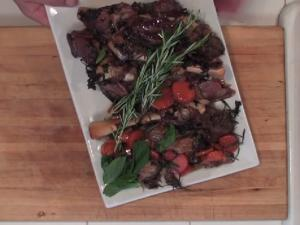 Garlic Stuffed Lamb Shanks In Mint Wine Reduction