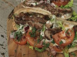 Homemade Lamb Kebabs In Warm Pitta