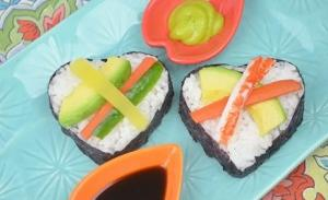 Valentines Day Heart Shaped Sushi Appetizer