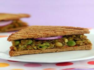 Masaledar Mixed Sprouts Sandwich Diabetic Recipe By Tarla Dalal