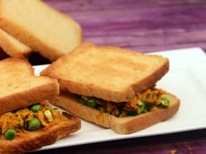Carrot And Green Peas Sandwich Vitamin A Rich By Tarla Dalal