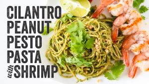 Cilantro Peanut Pesto Pasta With Shrimp Recipe