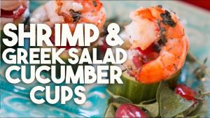 Shrimp And Greek Salad Cucumber Cups Healthy Appetizer 1019756 By Kravingsblog