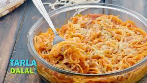 Baked Spaghetti In Tomato Sauce 1018904 By Tarladalal