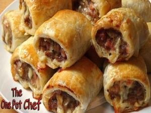 Cheesy Beef And Bacon Sausage Rolls